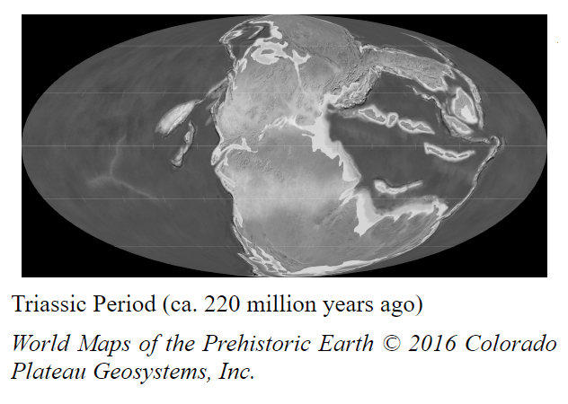 Earth in the Triassic period at start of the dinosaur age showing one land mass.