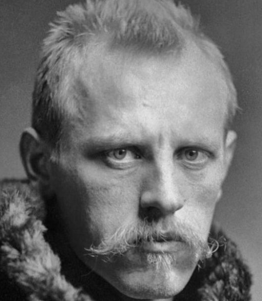 Portrait of Danish explorer Fridtjof Nansen with  deep set eyes that look like they've stared into the abyss.
