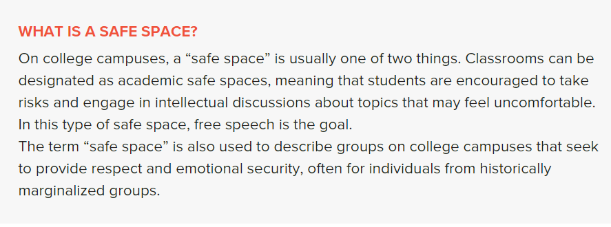 Screen shot of the definition of safe space from the link in the  next paragraph.